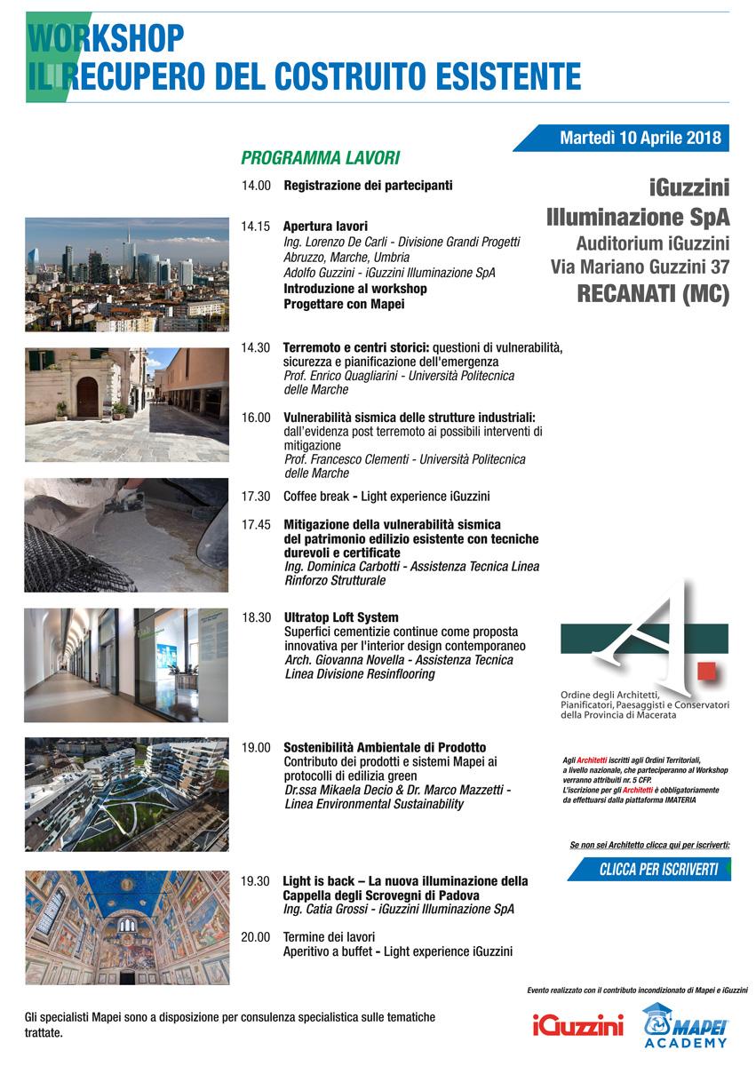 Mapei e iGuzzini invitano a un incontro sulla ricostruzione