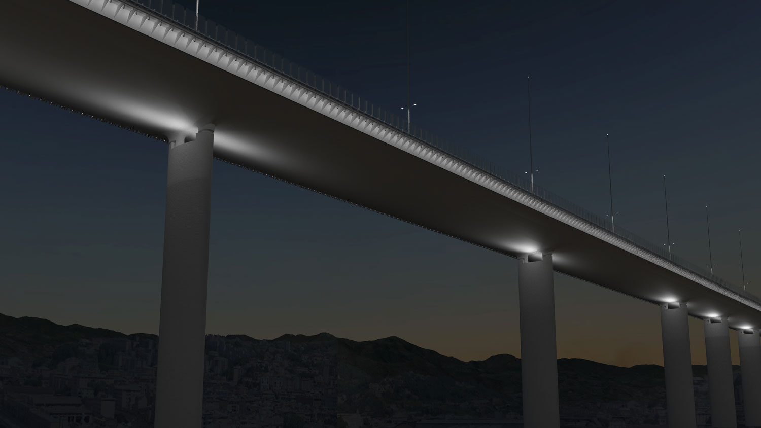 iGuzzini illuminates the Genoa Saint George Bridge, designed by Renzo Piano